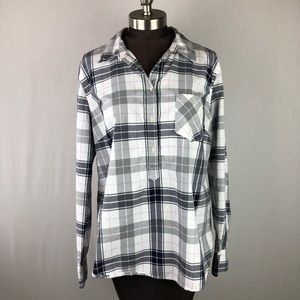 Merona Grey White Plaid Half Button Collar Shirt